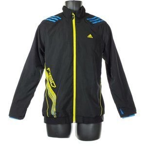 ADIDAS Windbreaker Track Jacket Men's Black Neon